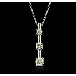 14KT White Gold 0.56 ctw Diamond Pendant With Chain