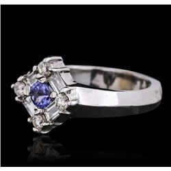 14KT White Gold 0.33 ctw Tanzanite and Diamond Ring