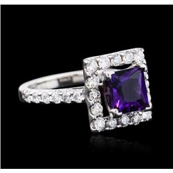 14KT White Gold 2.00 ctw Amethyst and Diamond Ring