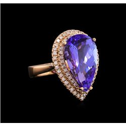 9.20 ctw Tanzanite and Diamond Ring - 14KT Rose Gold