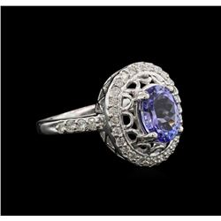 2.10 ctw Tanzanite and Diamond Ring - 14KT White Gold