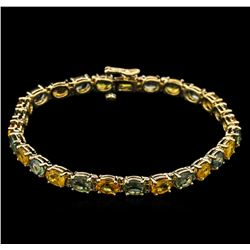 14.97 ctw Multi Color Sapphire Bracelet - 14KT Yellow Gold