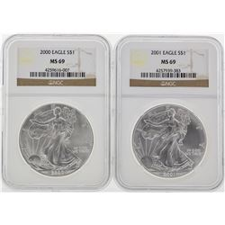 2000-2005 NGC MS69 Silver Eagle Set