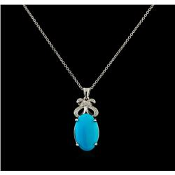 4.78 ctw Turquoise and Diamond Pendant With Chain - 14KT White Gold