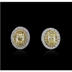 1.45 ctw Fancy Yellow Diamond Earrings - 14KT White and Yellow Gold