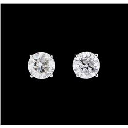 1.34 ctw Diamond Earrings - 14KT White Gold