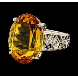 13.90 ctw Citrine and Diamond Ring - Platinum