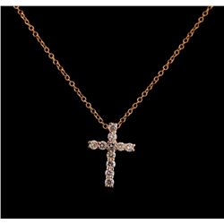 0.31 ctw Diamond Cross Pendant With Chain - 14KT Rose Gold