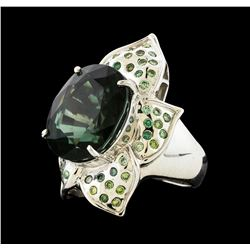 12.97 ctw Tourmaline and Diamond Ring - 18KT White Gold