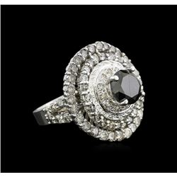 7.14 ctw Black Diamond Ring - 14KT White Gold