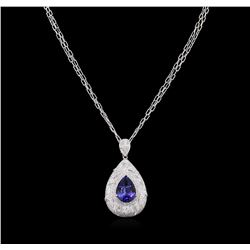9.64 ctw Tanzanite and Diamond Pendant With Chain - 14KT White Gold