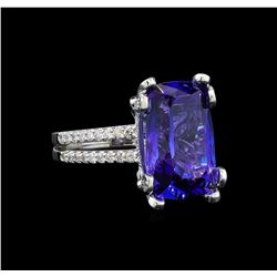 GIA Cert 8.69 ctw Tanzanite and Diamond Ring - 14KT White Gold