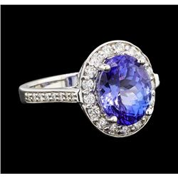 4.98 ctw Tanzanite and Diamond Ring - 14KT White Gold