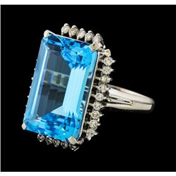 19.91 ctw Blue Topaz and Diamond Ring - Platinum