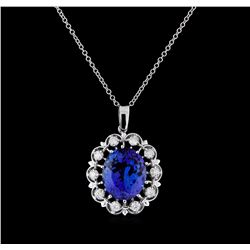 12.31 ctw Tanzanite and Diamond Pendant With Chain - 14KT White Gold