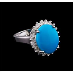 4.88 ctw Turquoise and Diamond Ring - 14KT White Gold