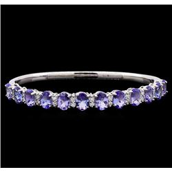 9.58 ctw Tanzanite and Diamond Bracelet - 14KT White Gold
