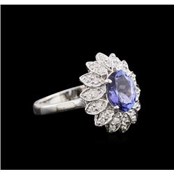 1.76 ctw Tanzanite and Diamond Ring - 14KT White Gold