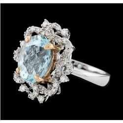 3.88 ctw Aquamarine and Diamond Ring - 14KT Rose and White Gold