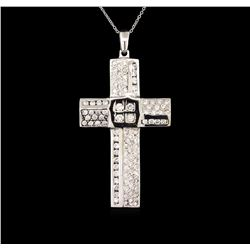 2.10 ctw Diamond Cross Pendant With Chain - 14KT White Gold
