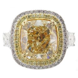 GIA Cert 9.27 ctw Fancy Yellow Diamond Ring - 18KT Yellow Gold