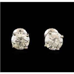 2.14 ctw Diamond Stud Earrings - 14KT White Gold