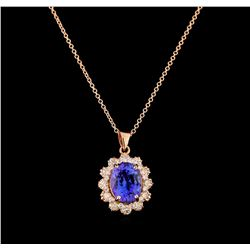 3.80 ctw Tanzanite and Diamond Pendant With Chain - 14KT Rose Gold