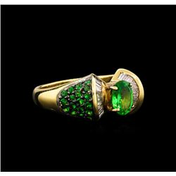 1.57 ctw Tsavorite Garnet and Diamond Ring - 14KT Yellow Gold