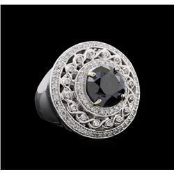 6.81 ctw Black Diamond Ring - 14KT White Gold