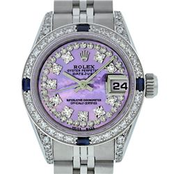 Rolex Ladies SS Diamond Lugs Purple MOP VS Diamond And Sapphire Datejust Wristwa