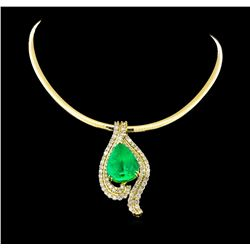 14KT-18KT Yellow Gold GIA Certified 40.62 ctw Emerald & Diamond Pendant W/ Chain