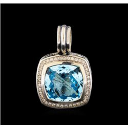 David Yurman Blue Topaz and Diamond Albion Pendant - Sterling Silver