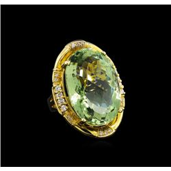 14KT Yellow Gold 27.45 ctw Green Quartz and Diamond Ring
