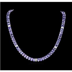 54.00 ctw Tanzanite and Diamond Necklace - 14KT White Gold