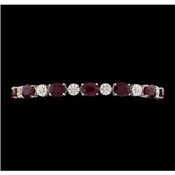 18.68 ctw Ruby and Diamond Bracelet - 14KT White Gold