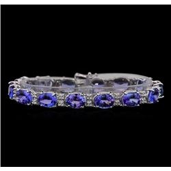 14KT White Gold 25.66 ctw Tanzanite and Diamond Bracelet
