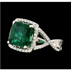 3.67 ctw Emerald and Diamond Ring - 18KT White Gold