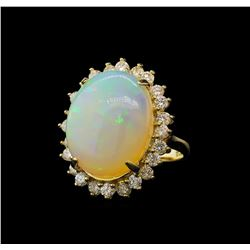 9.37 ctw Opal and Diamond Ring - 14KT Yellow Gold