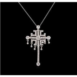 1.00 ctw Diamond Cross Pendant With Chain - 14KT White Gold
