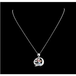 2.78 ctw Tourmaline and Diamond Pendant with Chain - 14KT White Gold