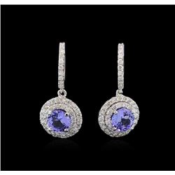 14KT White Gold 2.83 ctw Tanzanite and Diamond Earrings
