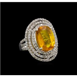 10.69 ctw Yellow Sapphire and Diamond Ring - 14KT White Gold