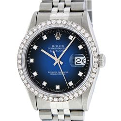Rolex Stainless Steel Blue Vignette Diamond DateJust Men's Watch