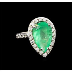 GIA Cert 5.49 ctw Emerald and Diamond Ring - 14KT White Gold