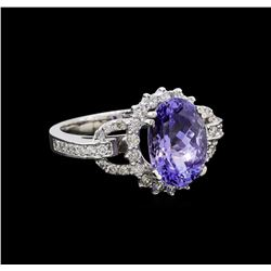4.15 ctw Tanzanite and Diamond Ring - 14KT White Gold
