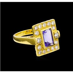 2.94 ctw Tanzanite and Diamond Ring - 18KT Yellow Gold