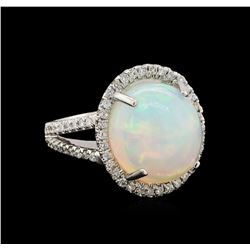 8.95 ctw Opal and Diamond Ring - 14KT White Gold