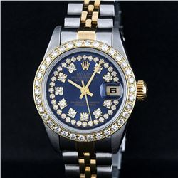 Rolex Two-Tone Blue String Diamond VVS Beadset DateJust Ladies Watch