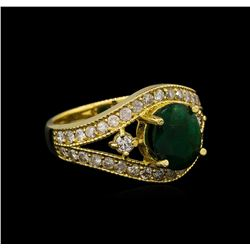 14KT Yellow Gold 1.63 ctw Emerald and Diamond Ring