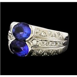 2.96 ctw Tanzanite and Diamond Ring - Platinum